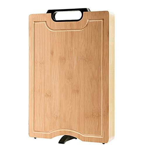 SjYsXm Tabla de Cortar de bambú, Tabla de Cortar Espesa Reversible de Cocina, Tabla de tallar con abrevadero, Mango de Carbono y Soporte de Drenaje, Bandeja para Queso/Bandeja para Servir