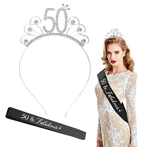 LOPOTIN Corona Cristal 50 Años, Tiara Cumpleaños, Banda Satén Cumpleaños, Kit Cristal Corona Metal Plateado y Satén, regalo Cumpleaós para Disfraces Princesa Mujeres Niñas en Fiesta Cumpleaños.