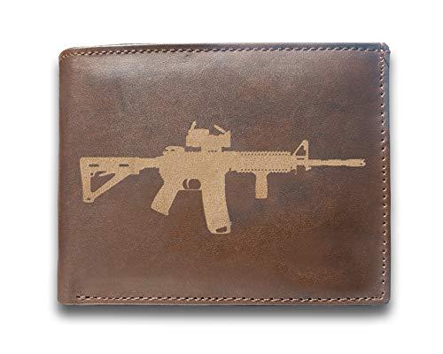 Military AR-15 Army Rifle Genuine Cowhide Leather Laser Engraved Engraving Slimfold Mens Large Capacity Luxury Wallet Purse Minimalist Sleek and Slim Brown Card Holder Organizer 14 Pockets