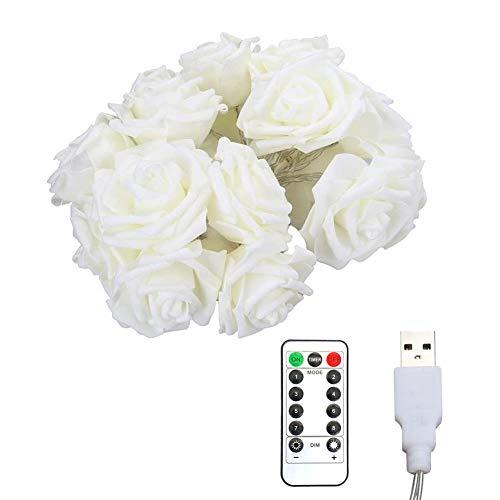 Linterna LED de color blanco cálido de 6 metros, 40 luces, mando a distancia USB, 8 modos, diseño de rosas, para decoración de flores, lámpara para el día de San Valentín