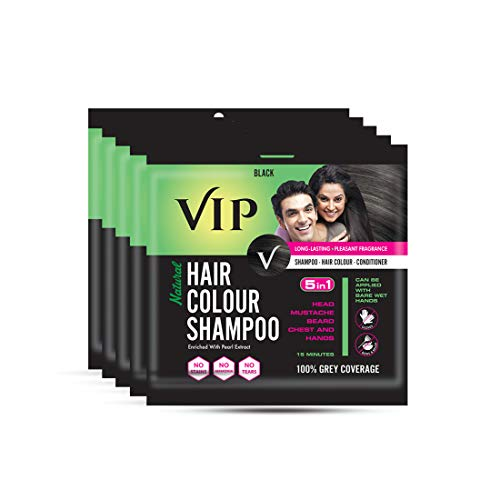 VIP HAIR COLOUR SHAMPOO, Black, 20ml, (Pack of 5)