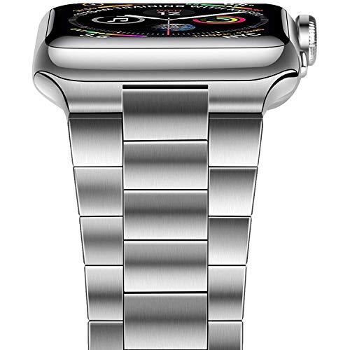 LeekaoWee - Cinturino di ricambio per Apple Watch, 38 mm, 40 mm, 42 mm, 44 mm, in acciaio inox, compatibile con iWatch Series 5/4/3/2/1 (42 mm/44 mm, argento)
