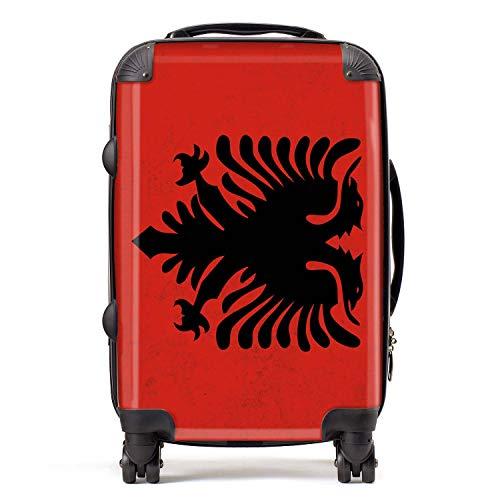 Vlag Albanië / Albanese vlag Zuid-Europa koffer cabine met TSA Lock 4 wielen draaibaar bagage tas 58 cm 52L