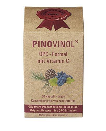 Pinovinol - OPC Formel mit Vitamin C | Nahrungsergänzungsmittel | Superfood | Vegan | Aus Pinienrinden- und Traubenkernextrakt | 60 Kapseln | 270mg