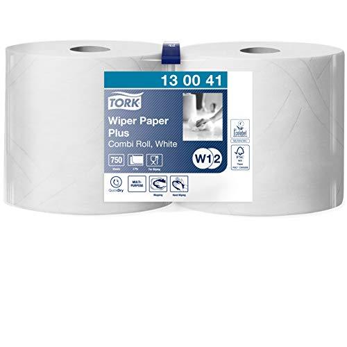 Tork 130041 Starke Mehrzweck Papiertücher für W1/W2 Systeme / 2-lagiges saugfähiges Papier in Weiß / 2 x 255m