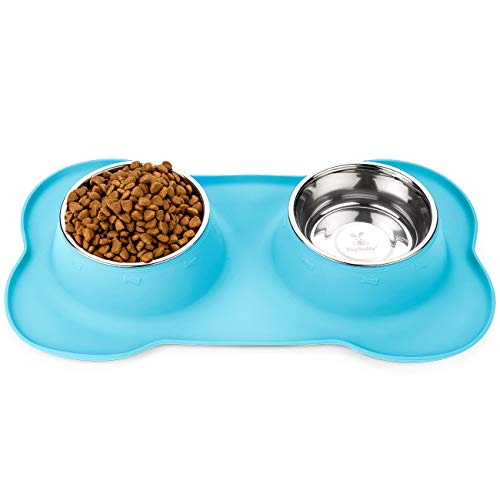 DogBuddy Dog Food Bowls, Non Slip Dog Food Tray with Stainless Steel Bowls, FDA Silicone Dog Food Mat with Removable Double Bowls, Washable Pet Food Mat, Waterproof Pet Dog Feeding Mat (Large, Maya)