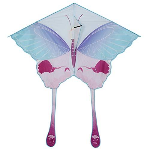 DPPAN Kite-paket vacker stor lättflyerdrake för barn – 145 cm bred med lång svans 93 cm lång perfekt för strand eller park av, lila_linje-hjul 1 000 m