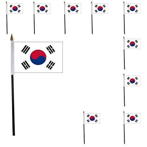 Sonia Originelli 10er Set Mini Flaggen WM Fußball 10x15 cm Party Anfeuern Fahnen Farbe Südkorea
