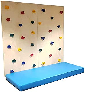 Moon Kids Climbing Wall With 2 Panel, Safety Mat and Multi-Color Grips-Indoor Play- Kids-Children-Young- Training Sport-Ma...