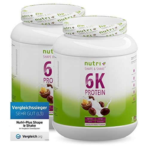 EIWEIßPULVER SCHOKOLADE ERDNUSS 2kg - Nutri-Plus Shape & Shake Proteinpulver ohne Milch & Whey - Chocolate-Peanut Protein - 2000g Doppelpack Eiweiß Pulver