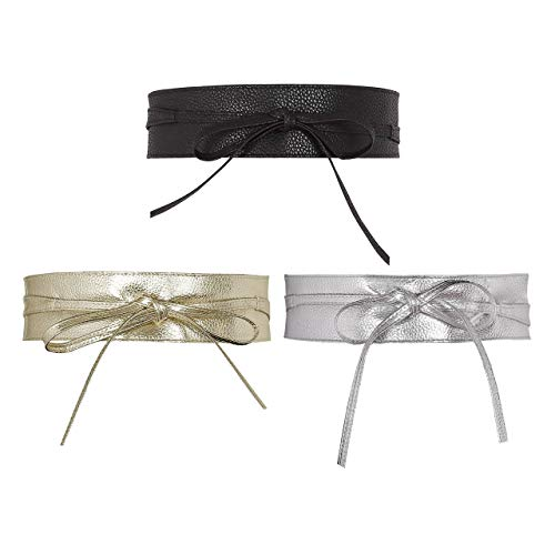 CHIC DIARY Damen Fashion Gürtel Breiter Taillengürtel Hüftgürtel Bindegürtel Ledergürtel in vielen Farben, Schwarz+Silber+Golden, Einheitsgröße