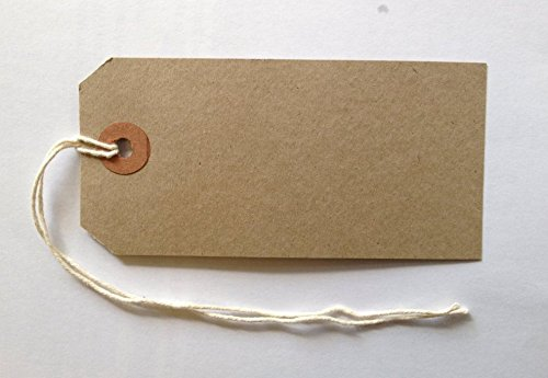 100 Reinforced Brown Buff Luggage Tags Labels with String Strung Suitcase Ties 96 x 48mm