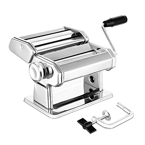 Pasta Maker Deluxe Set, Elegant Life Homemade 150mm Pasta Maker All in one 7 Thickness Settings for Fresh Fettuccine Spaghetti Lasagne Dough Roller Press Cutter Noodle Making Machine Pasta Roller