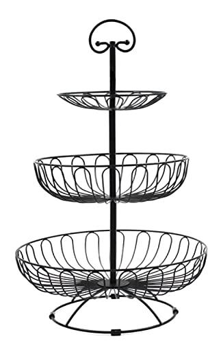 Auroni onst etagère met 3 verdiepingen fruit mand van metaal - zwart - voor meer ruimte op het werkblad - afmetingen: 47 cm hoog, max. Diameter: 30 cm.