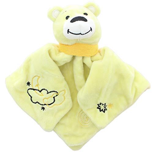 MIK Funshopping Kuscheltuch Schmusetuch Schnuffeltuch Bär mit Teddy-Köpfchen zum Greifen, Fühlen und Knuddeln für Babys und Kleinkinder (gelb)