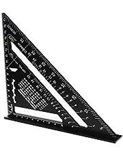 driehoekige liniaal, 7 inch (17,8 cm) driehoekige gradenboog, aluminium driehoekige liniaal, zwarte aluminiumlegering, zeer nauwkeurige driehoekige liniaal voor meetliniaal gereedschap (metrisch)