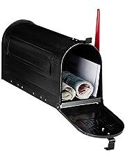 Relaxdays brievenbus, vintage, US e-mail, krantenvak, groot, HxBxD: 25x19x52,5 cm, rode vlag, stalen mailbox, zwart, 1 stuk
