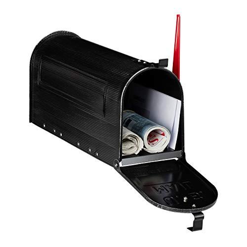 Relaxdays Briefkasten, Vintage, US Mail, Zeitungsfach, groß, HxBxT: 25x19x52,5 cm, Fahne rot, Stahl Mailbox, schwarz, 1 Stück