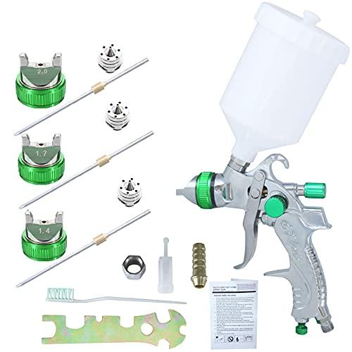 HVLP Juego de Herramientas de Pistola,Pistola de Pintura de alimentación por Gravedad 600CC con 3 boquillas por Pistola 1.4/1.7/2.0 mm para Pintar automóviles,Muebles y Otros Equipos (Green)