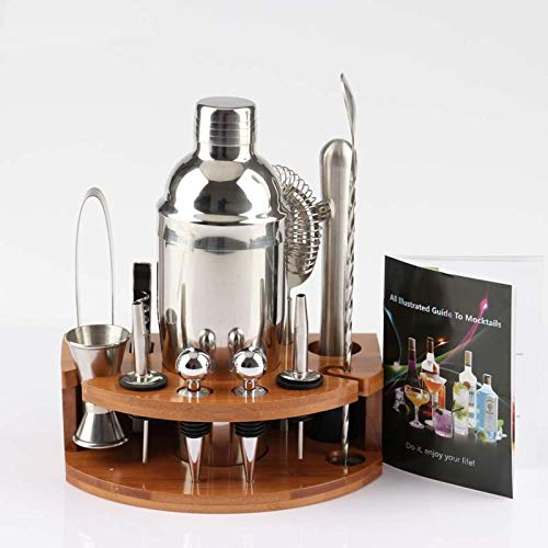 Delgeo Update Cocktail Shaker Set,Kit Barman Shaker Cocktail Set di 12 Pezzi, Shaker Cocktail Boston Bartender Kit in Acciaio Inossidabile,Party Set Cocktail di Regalo con Accessori,per Casa e Bar