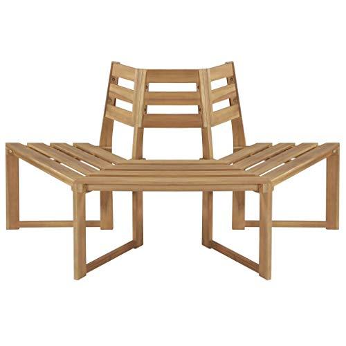 Festnight- Baumbank Gartenbamk Holzbank Sitzbank | Parkbank Halbsechseckig Bank aus Massives Akazienholz | Holz Gartenmöbel 160 x 80 x 86 cm