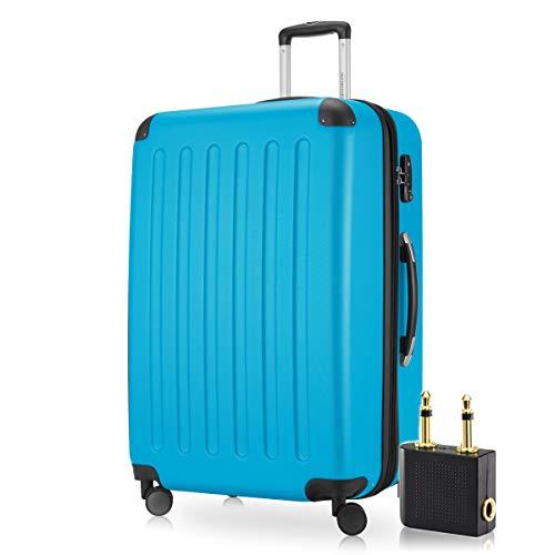 Hauptstadtkoffer - Spree Hartschalen-Koffer-XL Koffer Trolley Rollkoffer Reisekoffer Erweiterbar, 4 Rollen, TSA, 75 cm, 119 Liter, Cyan Blau +Flugzeug Audio Adapter