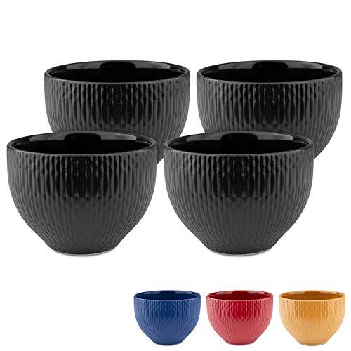 MELOX 4er Set Cappucchinotassen 4x 200ml in den Farben schwarz, blau, rot, gelb | 4er Tassen-Set für Cappucchino oder Kaffee | hochwertiges, dickwandiges Porzellan (schwarz)