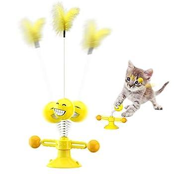 KEMOO Jouet pour chat - Jouet interactif pour chat - Avec plume - Rotatif - Avec ventouse et tampon adhésif