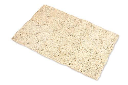 NaDeco Strohteppich 60cm x 90cm mit 4 Karos Naturteppich Naturfaserteppich Strohteppich aus Maisstroh Maisstrohteppich Stroh Teppich Maisstroh Teppich Naturteppich Boho Teppich Boho Style