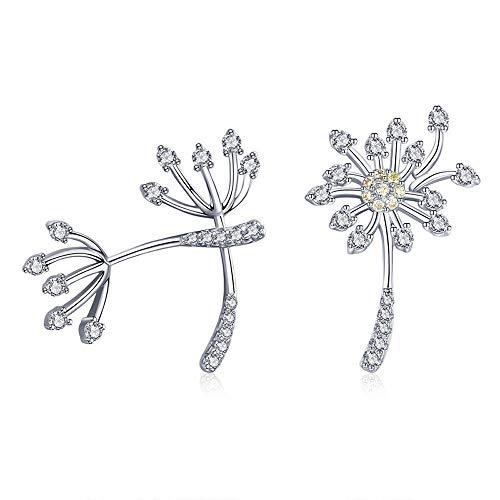 Pendientes de plata de ley 925 con diseño de diente de león en flor para mujer