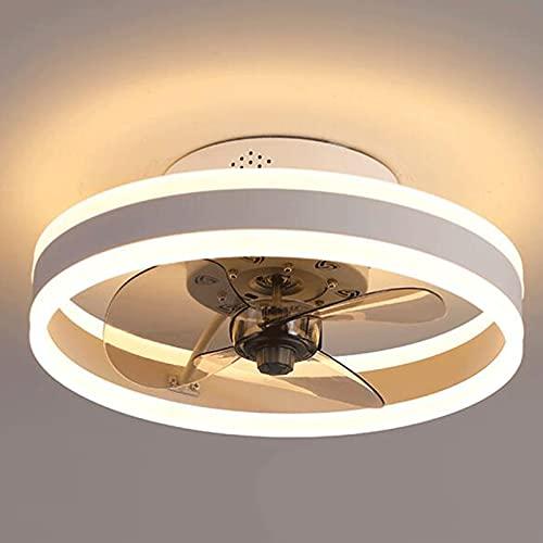 Luz del ventilador Luz De Anillo con Ventilador De Techo, Ventiladores De Techo con Iluminación Ajustable Velocidad Del Viento De 6 Velocidades Dimmable 48w para Cocina, Comedo(Size:50cm,Color:blanco)