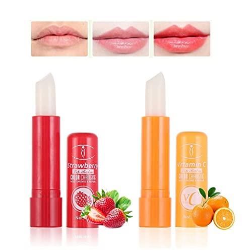 Set 2 Lipstick pintalabios mágico de fresa y vitamina C. Barras de labios hidratantes duradero. Cambia de color con la temperatura 2 unidades