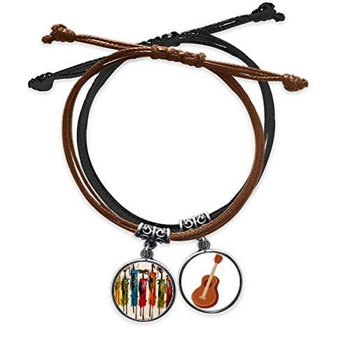 DIYthinker Abstracto Arte primitivo Africano Aboriginal Black Warrior Pulsera Cuerda Mano Cadena Cuero Guitarra Pulsera