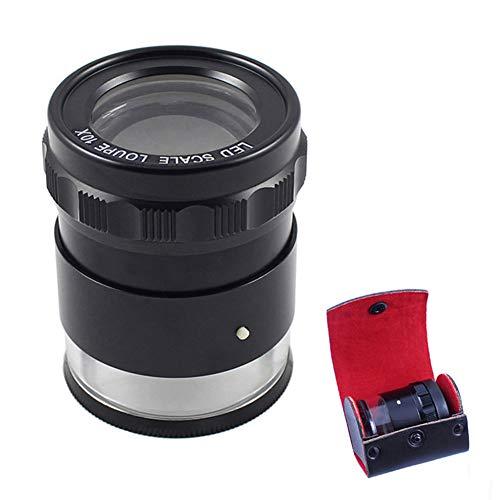 Magnifier 10X Schmucklupe mit 8 LED-Leuchten und Skala, Einstellbare Brennweite Augenlupe Lupen für EdelsteinmüNzen Schmuck,complexdial