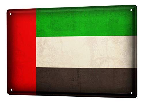 LEotiE SINCE 2004 Blechschild Dekoschild Küche Garage Welt Reise Vereinigte Arabische Emirate Flagge Wand Deko Schild 20X30 cm