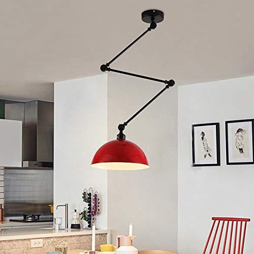 Ruanpu Vintage Deckenleuchten, ausziehbare Nordic Dome Retro E27 Lampenfassung Leuchtmittel Lampenschirm Hängelampe Deckenlampe Pendelleuchte für Wohnzimmer/Küche/Büro/Praxis (Rot)