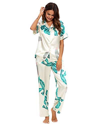 GOSO Pijama de satén para Mujer con Botones de Seda Floral