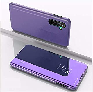 Custodia® Mirror Plating Clear View Stand Function Flip Case for OPPO Reno Ace/OPPO Realme X2 Pro (Purple)