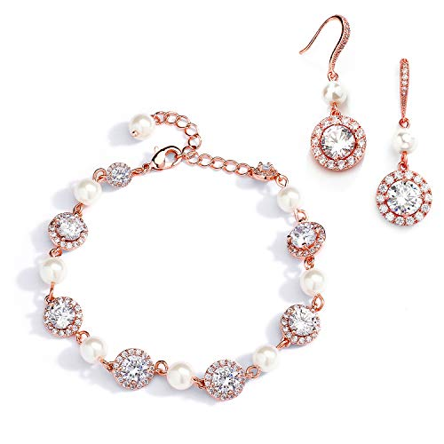 Mariell Rose Gold & Pearl Round CZ Bridal Bracelet & Earrings Set - Wedding Jewelry Sets for Bridesmaids