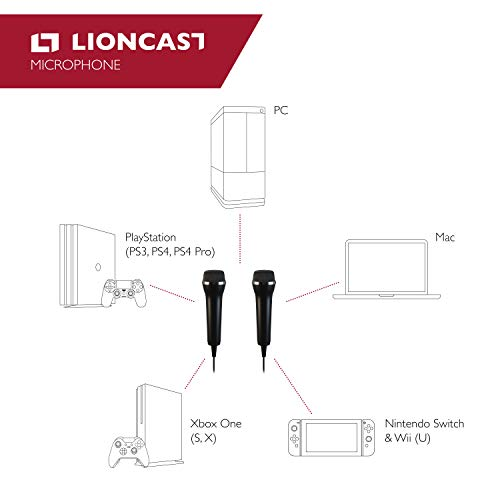 Lioncast Mikrofon für PC, Wii, Xbox, Playstation (PS3, PS4, PS4 Pro, PS5), Nintendo Switch (SingStar, Voice of, Lets Sing, We Sing), universal USB Microphone