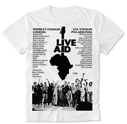 T-Shirt Live Aid Queen Freddie Mercury Bohemian The Who David Rhapsody Bowie Retro Vintage Poster '85 80s S