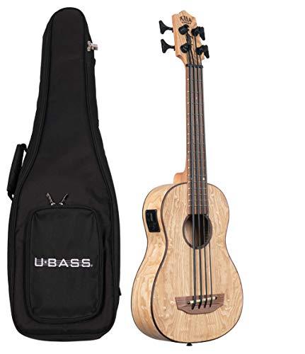 Kala U-BASS Ukulele aus Burled Tamo Ash Fretted Bass Ukulele mit gepolsterter Deluxe-Tasche, UBASS-BURL-FS