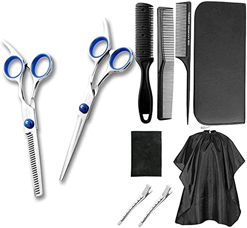 Herramientas de corte de cabello 10 PCS Tijeras de peluquería Conjunto, herramientas de corte para el cabello para mujeres/hombres/niños, (corte de barba de pelo que forma la preparación de taladu