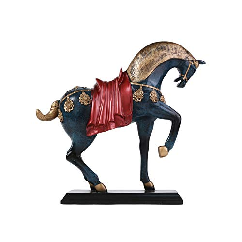 Estatuas Estatua de resina de caballo, estatuilla de arte de arte decorativo decorativo decoracin de oficina, adornos para estantera de escritorio Gabinete de vino para atraer la suerte y la riqueza