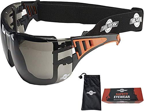 ToolFreak Rip Out Arbeits- und Sportschutzbrille und Sonnenbrille, dunkle Rundumbrille, Schaumstoffpolsterung, Schock- und UV-Schutz, Stirnband und Tragetasche