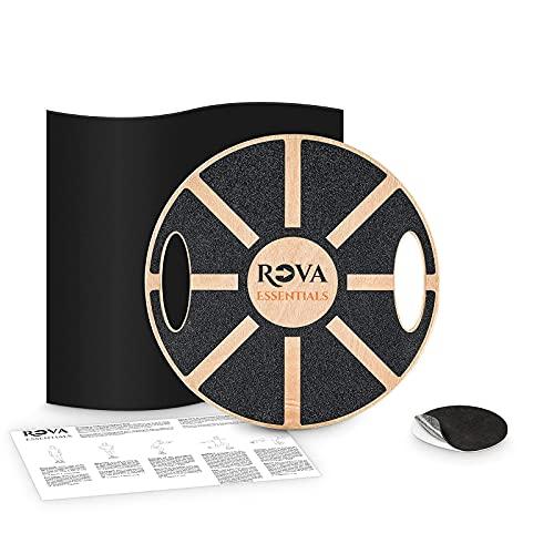 Rova Essentials © Balance Board, inklusive Trainingsmatte, Anti-Rutsch-Sticker, Trainingsanleitung, Gleichgewichtstrainer mit Handgriffen für Trainingsabwechslung