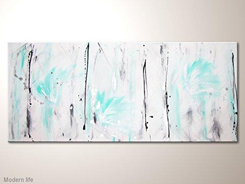 Wandbild im Grossformat, Acrylbild mit viel Weiß und Türkis: