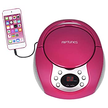 Riptunes Portable CD Player with AM FM Radio Potable radios Boom Box with Aux Line-in Pink