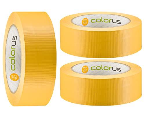 3 x Colorus PVC-Band PLUS | Gipser Klebeband 38 mm x 33 m gelb gerillt | Kunststoff-Klebeband für Innen, Außen, 14 Tage UV-Beständigkeit | Rückstandsfrei entfernbar | Malerbedarf