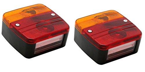 Hillfield® Universal Rücklichter, Rückleuchten für KFZ Anhänger, komplett mit Glühlampen (2 Rücklichter)